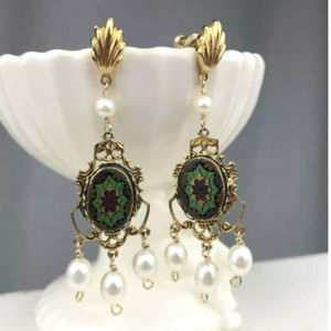 Vintage Ornate Chandelier Earrings Gold and Pearls